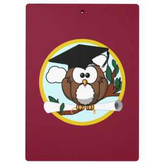 Graduation Owl With Cap & Diploma - Red and Gold Clipboard