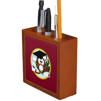 Graduation Owl With Cap & Diploma - Red and Gold Desk Organisers