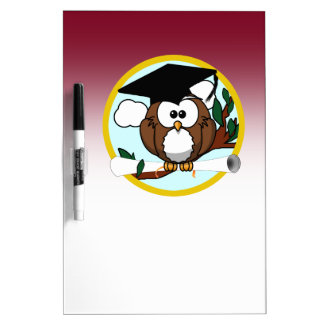 Graduation Owl With Cap & Diploma - Red and Gold Dry-Erase Whiteboards