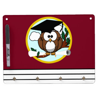 Graduation Owl With Cap & Diploma - Red and Gold Dry Erase Board With Keychain Holder