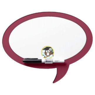 Graduation Owl With Cap & Diploma - Red and Gold Dry-Erase Board