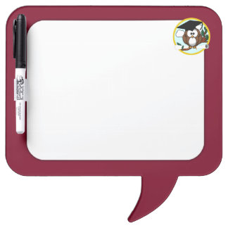 Graduation Owl With Cap & Diploma - Red and Gold Dry-Erase Whiteboard