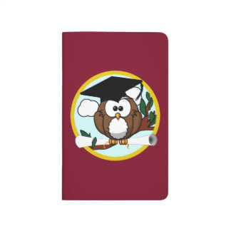 Graduation Owl With Cap & Diploma - Red and Gold Journals