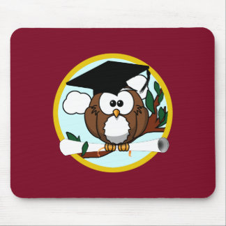 Graduation Owl With Cap & Diploma - Red and Gold Mouse Pad