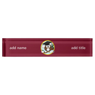 Graduation Owl With Cap & Diploma - Red and Gold Desk Name Plate
