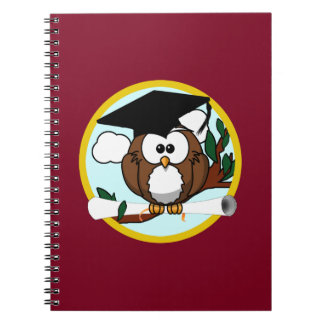 Graduation Owl With Cap & Diploma - Red and Gold Spiral Notebook