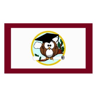 Graduation Owl With Cap & Diploma - Red and Gold Pack Of Standard Business Cards