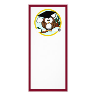 Graduation Owl With Cap & Diploma - Red and Gold Rack Card Design