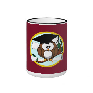 Graduation Owl With Cap & Diploma - Red and Gold Ringer Mug