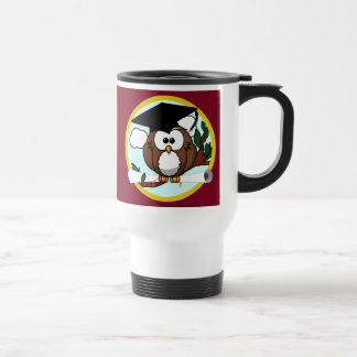 Graduation Owl With Cap & Diploma - Red and Gold Stainless Steel Travel Mug