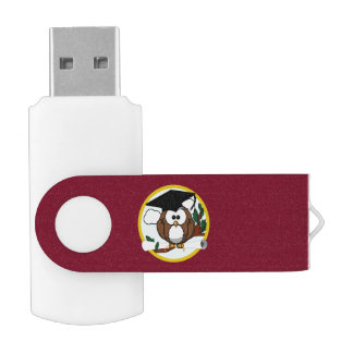 Graduation Owl With Cap & Diploma - Red and Gold Swivel USB 2.0 Flash Drive