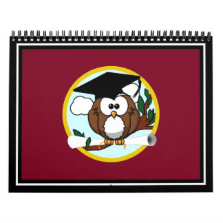 Graduation Owl With Cap & Diploma - Red and Gold Wall Calendars