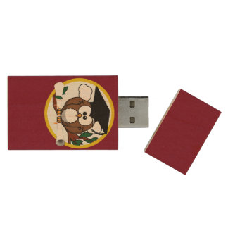 Graduation Owl With Cap & Diploma - Red and Gold Wood USB 2.0 Flash Drive