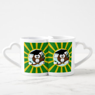Graduation Owl With Green And Gold School Colors Coffee Mug Set