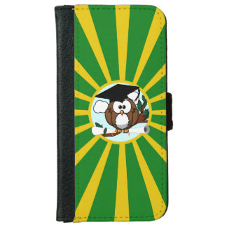 Graduation Owl With Green And Gold School Colors iPhone 6 Wallet Case