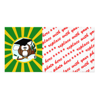 Graduation Owl With Green And Gold School Colors Picture Card