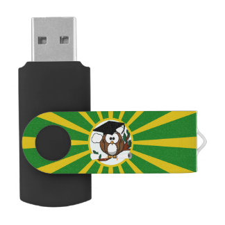 Graduation Owl With Green And Gold School Colors Swivel USB 2.0 Flash Drive