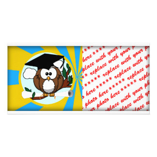 Graduation Owl With Lt.Blue And Gold School Colors Picture Card