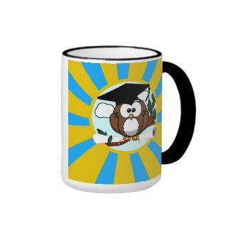 Graduation Owl With Lt.Blue And Gold School Colors Ringer Mug