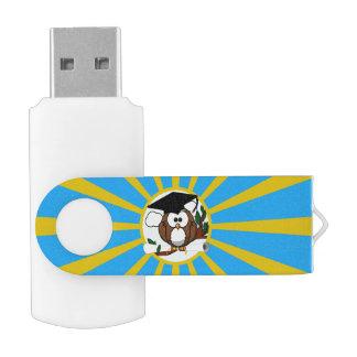 Graduation Owl With Lt.Blue And Gold School Colors Swivel USB 2.0 Flash Drive