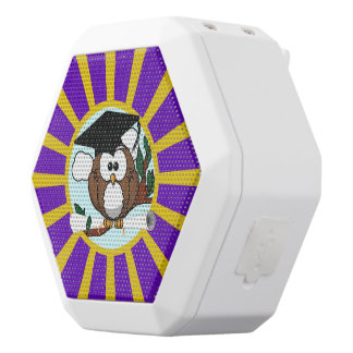 Graduation Owl With Purple And Gold School Colors White Boombot Rex Bluetooth Speaker