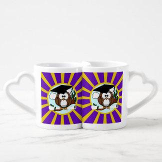 Graduation Owl With Purple And Gold School Colors Coffee Mug Set