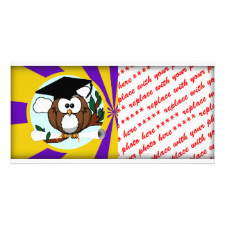Graduation Owl With Purple And Gold School Colors Personalised Photo Card