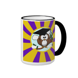 Graduation Owl With Purple And Gold School Colors Ringer Mug
