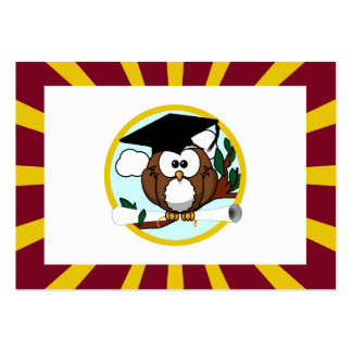 Graduation Owl With Red And Gold School Colors Large Business Cards (Pack Of 100)