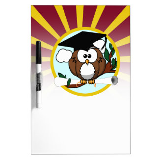 Graduation Owl With Red And Gold School Colors Dry-Erase Board