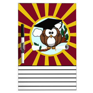 Graduation Owl With Red And Gold School Colors Dry-Erase Boards