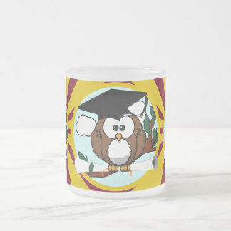 Graduation Owl With Red And Gold School Colors Frosted Glass Mug