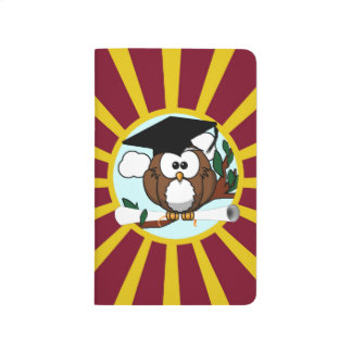 Graduation Owl With Red And Gold School Colors Journal