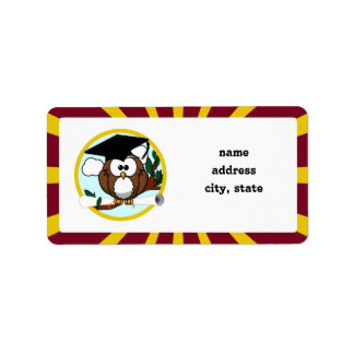 Graduation Owl With Red And Gold School Colors Address Label