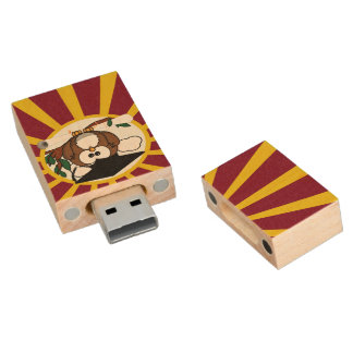 Graduation Owl With Red And Gold School Colors Wood USB 2.0 Flash Drive