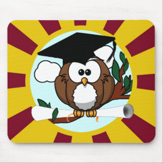 Graduation Owl With Red And Gold School Colors Mouse Pad