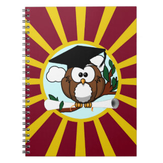 Graduation Owl With Red And Gold School Colors Spiral Note Books
