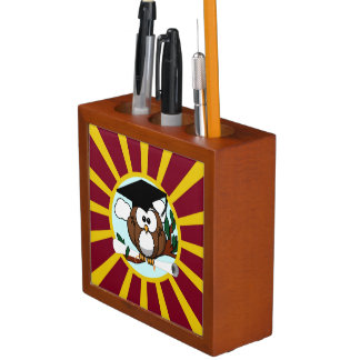 Graduation Owl With Red And Gold School Colors Pencil Holder