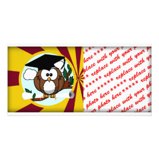 Graduation Owl With Red And Gold School Colors Photo Card