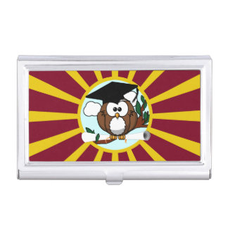 Graduation Owl With Red And Gold School Colors Business Card Holder