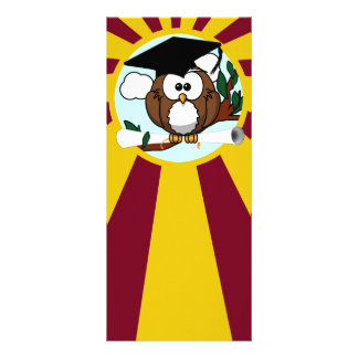 Graduation Owl With Red And Gold School Colors Custom Rack Cards