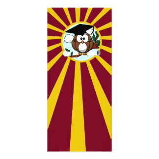 Graduation Owl With Red And Gold School Colors Full Color Rack Card