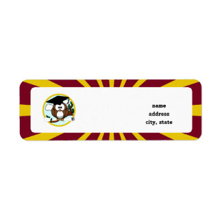 Graduation Owl With Red And Gold School Colors Return Address Label