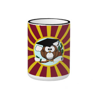 Graduation Owl With Red And Gold School Colors Ringer Mug