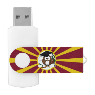 Graduation Owl With Red And Gold School Colors Swivel USB 2.0 Flash Drive