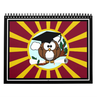 Graduation Owl With Red And Gold School Colors Wall Calendar