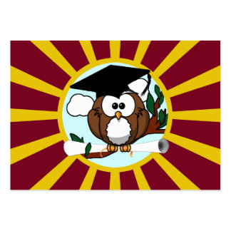 Graduation Owl With Red And Gold School Colours Pack Of Chubby Business Cards