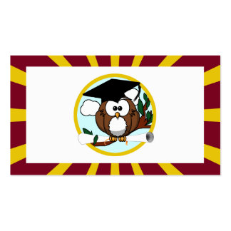Graduation Owl With Red And Gold School Colours Pack Of Standard Business Cards