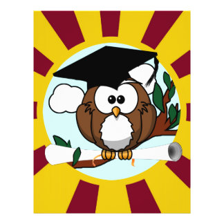 Graduation Owl With Red And Gold School Colours 21.5 Cm X 28 Cm Flyer