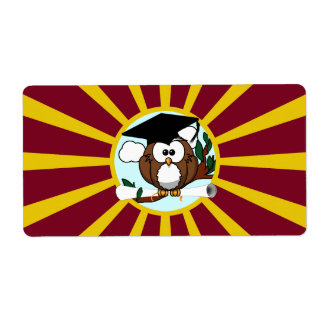 Graduation Owl With Red And Gold School Colours Shipping Label